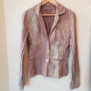 Johnny Was Embroidered Flare Sleeve Blazer Jacket